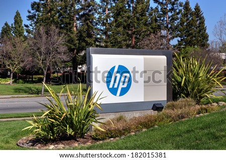 PALO ALTO, CA/USA - MARCH 16, 2014: Hewlett-Packard corporate headquarters in Silicon Valley. HP provides hardware, software and services to consumers, businesses and government. - stock photo
