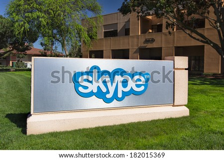 PALO ALTO, CA/USA - MARCH 16, 2014: Skype Corporate Building in Silicon Valley.  Skype is a voice-over-IP service and instant messaging client,developed by  Microsoft.