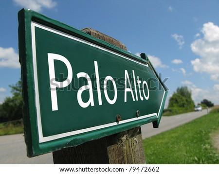 Palo Alto signpost along a rural road