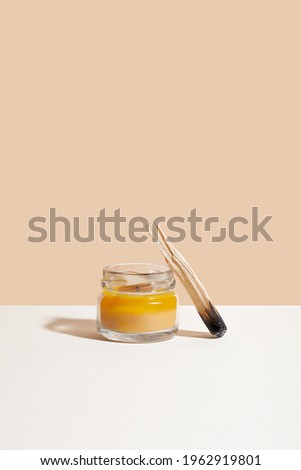 Palo santo holy wood sticks with candle for spiritual meditate practice. Concept of mental health Photo stock ©