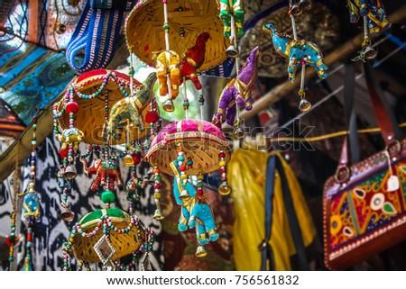 Palolem Goa India 10 28 2017 Colorful Handicraft From Souvenir Shop
