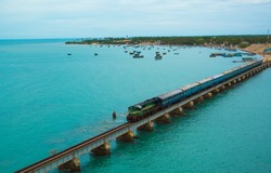 Pamban Bridge is a railway bridge which connects the town of Rameswaram on Pamban Island to mainland India.  Photo taken in Rameswaram