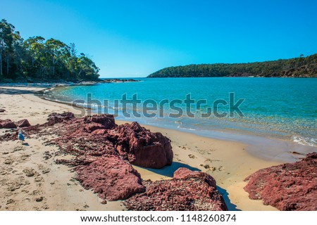 Pambula mouth of the river, situated near lion rock in the far south coast town of Pambula NSW Auatralia with clear water and great fishing.
