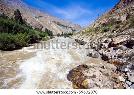 Pamir mountain rapid muddy river and green area under blue sky