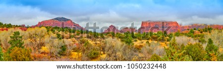 Pamorama of Castle Rock, Bell Rock, Courthouse Butte, and Munds
