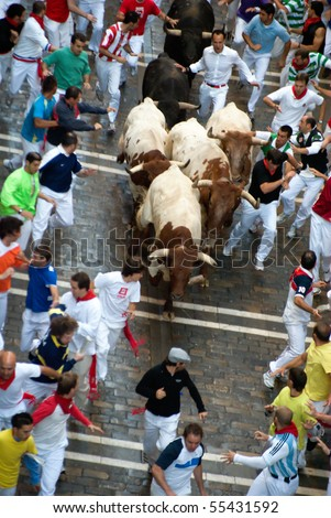 PAMPLONA-JULY 9:Aerial view of the Bull running in the calle Estafeta. Fiesta de San Fermin, Pamplona, Navarra, Spain 9 July 2008 in Pamplona Spain