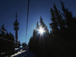 Pampororvoq Bulgaria february 2020. The television tower is situated on the summit with the same name – Snezhanka (1926m)
