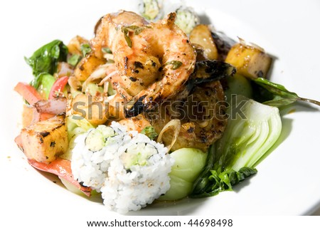 Vietnamese Food Grilled Lemon Grass Shrimp With Red Asian Basil Greens ...