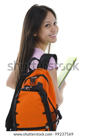 Pan Asian student on white background