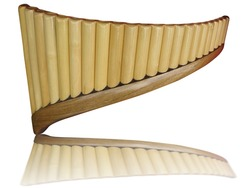 Pan flute pipes with reflection isolated on white background