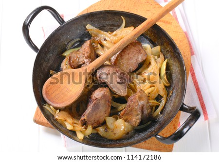 Pan fried chicken liver and onions