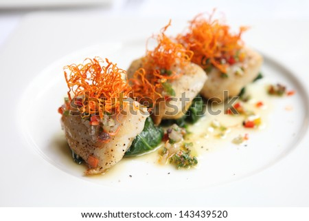 pan fried sea bass fish fillet