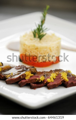 Pan fried venison with a coconut crust