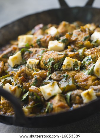 Pan of Chicken and Paneer Balti