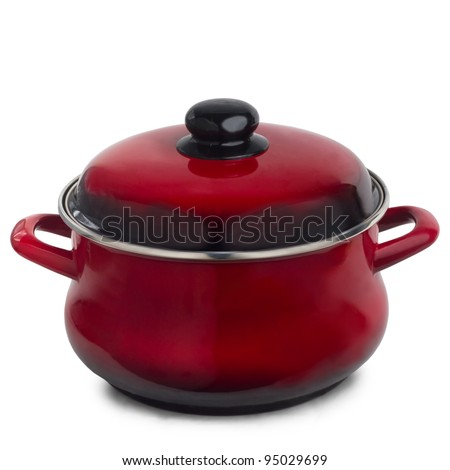 pan red kitchen pot isolated on white background