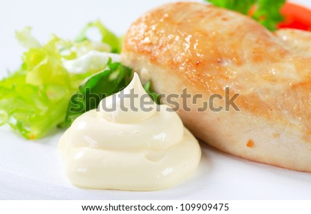 Pan roasted chicken breast with mayonnaise