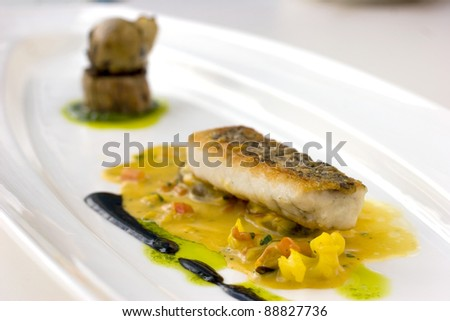 Pan seared, crispy skinned cod molecular cuisine
