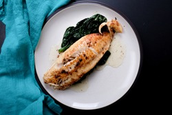 pan seared fillet of sole with spinach, a ketogenic diet meal