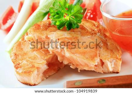 Pan seared fish patty and sweet chili sauce
