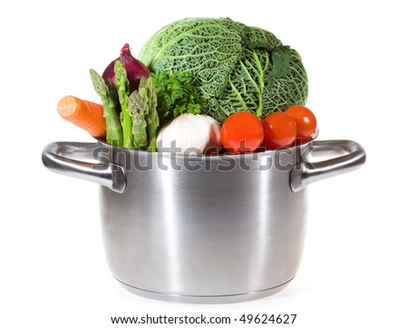 pan with fresh vegetables for soup white background