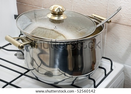 pan with golden handles for cooking on a gas-stove