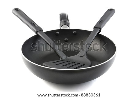 Pan with handle and Spade of frying pan on white background
