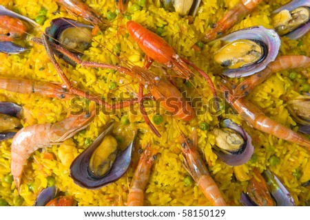 Pan with spanish sea food, Paella .