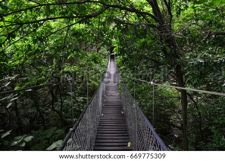 PANAJACHEL, GUATEMALA - JUN 26TH, 2017: Suspension bridge at the Atitlan Natural Park, Panajachel, Guatemala, on Jun 26th, 2017 #669775309