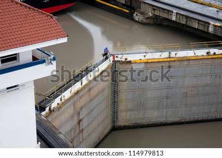 Panama Canal. Lock door.