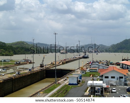 Panama Canal, near Panama City, looking inland from the Miraflores Lock  towards the Pedro Miguel Lock