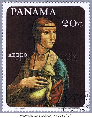 PANAMA - CIRCA 1967: A stamp printed in Panama shows painting of Leonardo da Vinci - Lady with an Ermine, series, circa 1967