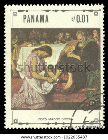 Panama - circa 1968: Stamp printed by Panama, Color edition on Art, shows Religious paintings by Ford Madox Brown, circa 1968