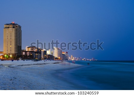 Panama City Beach Florida cityscape at night