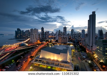 Panama City city center skyline and Bay of Panama Panama Central America