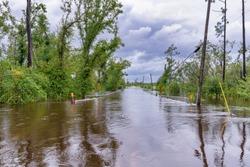 Panama City, Florida, USA. 9/16/2020. North Bear Creek road and bridge flooded from Hurricane Sally's torrential rain