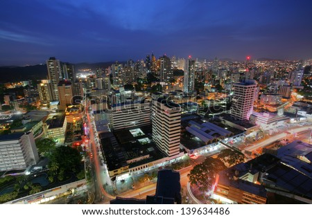 PANAMA CITY - MAY 24: Stunning view of Panama City in the twilight in Panama City, Panama on May 24, 2013. Is main commercial area in all the country where are the main banks and government offices. - stock photo