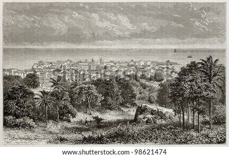 Panama city old view. Created by De Bar, published on Magasin Pittoresque, Paris, 1882