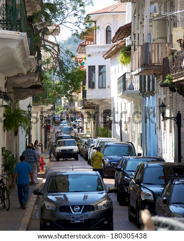 PANAMA CITY, PANAMA - JANUARY 18, 2014: The narrow streets of Casco Viejo, the historic district of Panama City Panama. Completed and settled in 1673. It was designated a World Heritage Site in 1997.