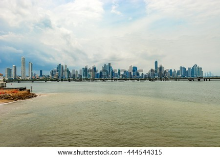 Panama city, Panama - May 15, 2016: Landscape view at skyline of skyscrapers in Panama City, Panama, Central America. #444544315