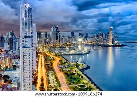 Panama City Skyline at dusk #1099186274