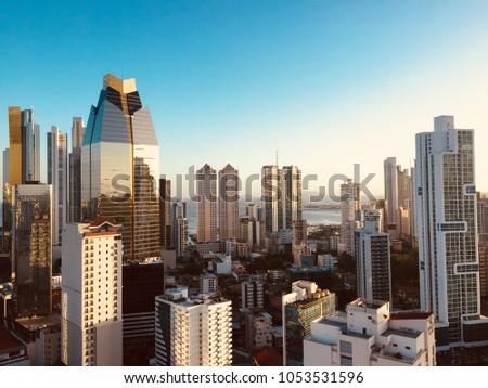 panama city skyline - modern city skyline - skyscraper building panorama - #1053531596