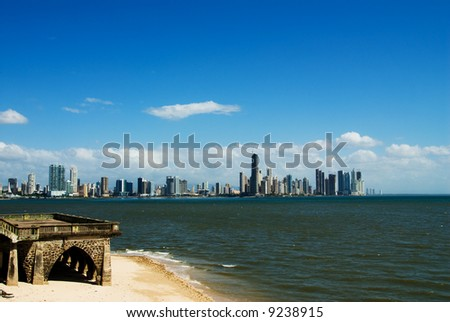 panama city with buildings by the water