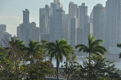 Panama city with high skyscrapers and port on the Pacific coast