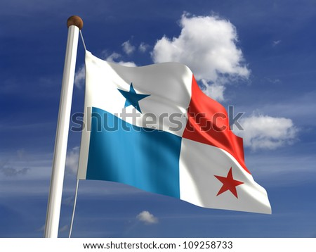 Panama flag (with clipping path)