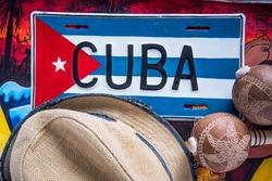 Panama hat and maracas, travel to Cuba concept