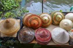Panama Hat on the Boat. Souvenir shop on boat at floating market in Thailand, Asia which sale headgear and hat by handmade