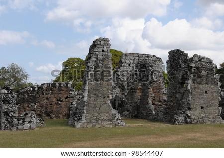 Panama La Vieja, old Spanish city UNESCO heritage ruins.
