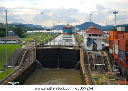 PANAMA - OCTOBER 6. In July 2009, the Panama Canal Authority awarded contracts to a consortium of companies to build six new locks by 2015. Old, narrow, locks at Balboa. October 6, 2010, Panama