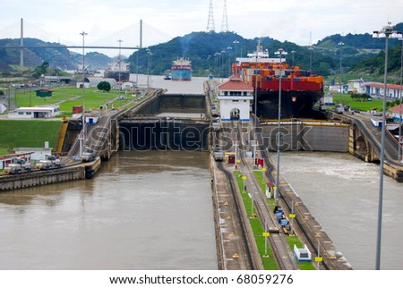 PANAMA - OCTOBER 6. In July 2009, the Panama Canal Authority awarded contracts to a consortium of companies to build six new locks by 2015. Old, narrow, locks at Balboa. October 6, 2010, Panama - stock photo