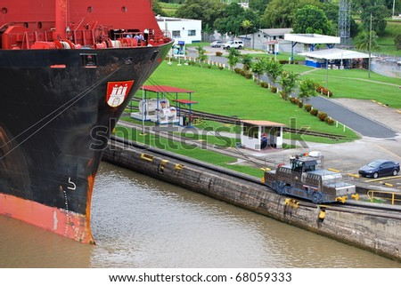 PANAMA - OCTOBER 6. In July 2009 the Panama Canal Authority awarded contracts to a consortium of companies to build six new locks by 2015. 'Tug' locomotive at Balboa old lock. October 6 2010, Panama